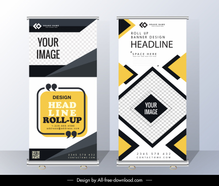 corporate banner templates vertical design modern abstract geometry