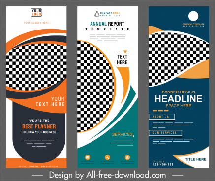 corporate banner templates vertical modern abstract checkered decor