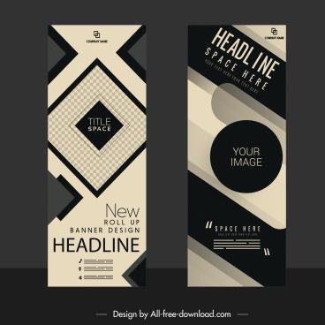 corporate banners black white sketch modern geometric decor