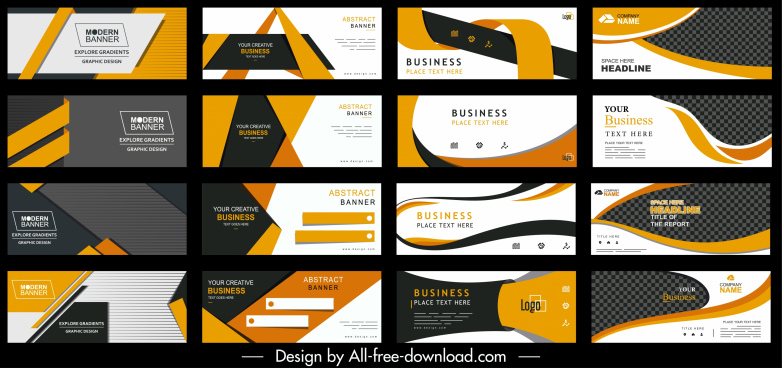 corporate banners collection colorful modern elegant techno decor