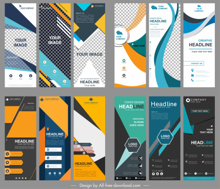 corporate banners collection modern colorful vertical standee shapes