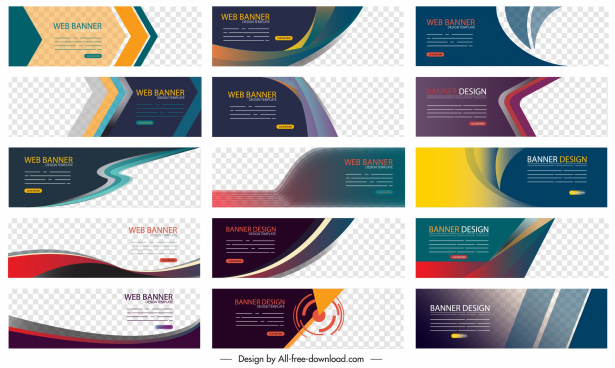 corporate banners collection modern dynamic multicolored decor