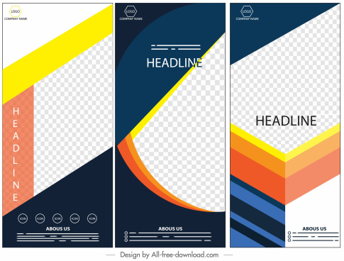 corporate banners templates colorful modern decor vertical design