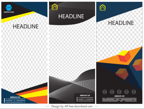 corporate banners templates modern colorful checkered geometric decor