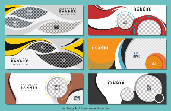 corporate banners templates modern colorful flat checkered decor