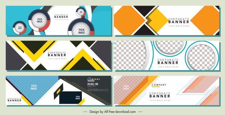 corporate banners templates modern flat colorful geometric decor