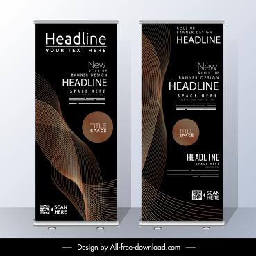 corporate banners vertical elegant modern dark dynamic decor