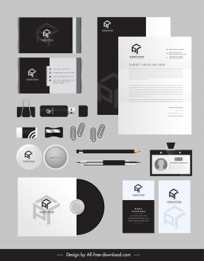 corporate brand identity sets elegant black white decor