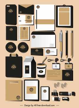 corporate brand identity sets elegant dark decor