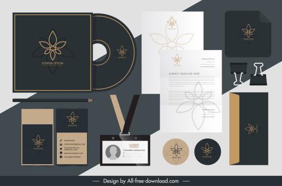 corporate brand identity sets elegant dark floral sketch