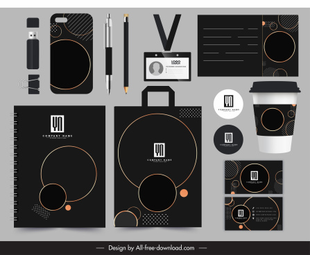corporate brand identity sets elegant dark texts decor
