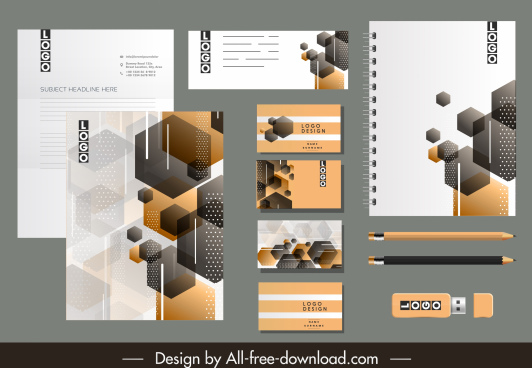 corporate brand identity sets modern blurred polygonal decor