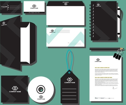 corporate branding design sets black and white style