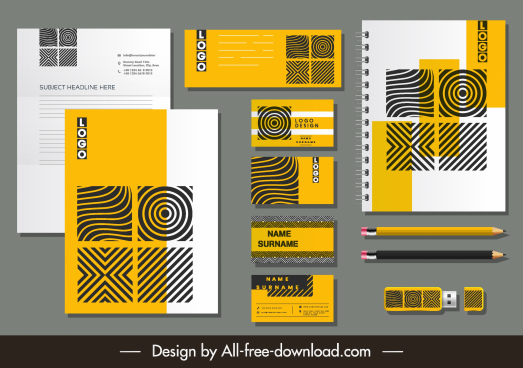 corporate branding identity sets abstract spiral stripes decor