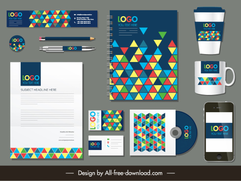 corporate branding identity sets colorful polygonal triangles decor