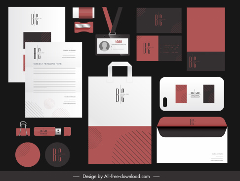 corporate branding identity sets texts logotype decor