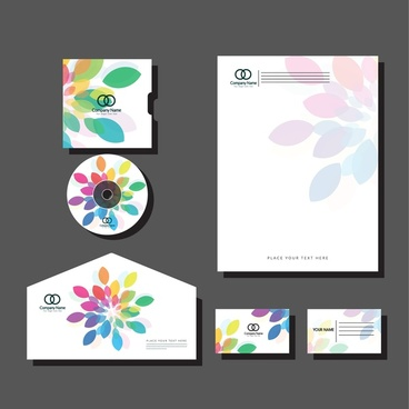 corporate branding sets colorful petals background design