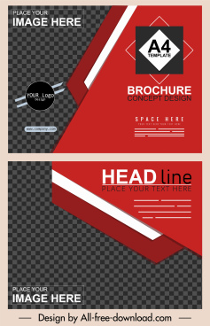 corporate brochure template black red modern checkered decor