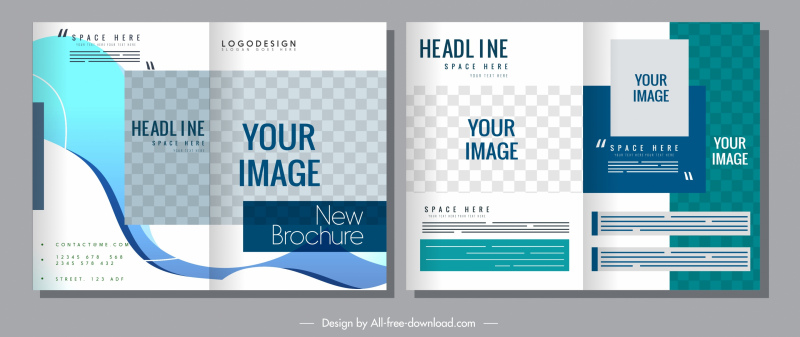 corporate brochure template bright elegant modern checkered decor