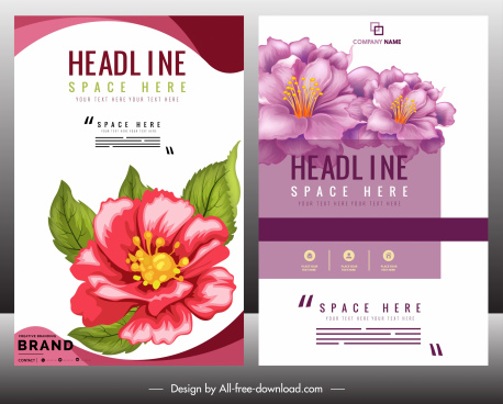 corporate brochure template colorful botanical decor