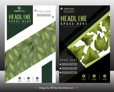 corporate brochure template green leaf decor modern design