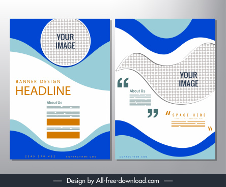 corporate brochure template modern abstract curves checkered decor