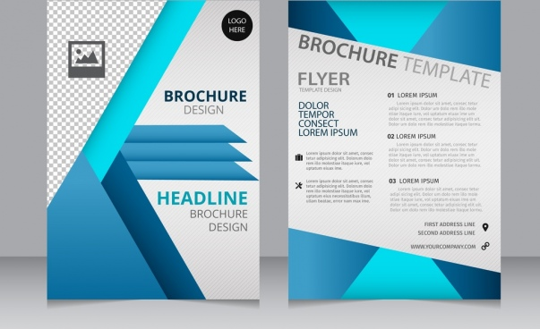 Blue geometric trifold business brochure design template vector.