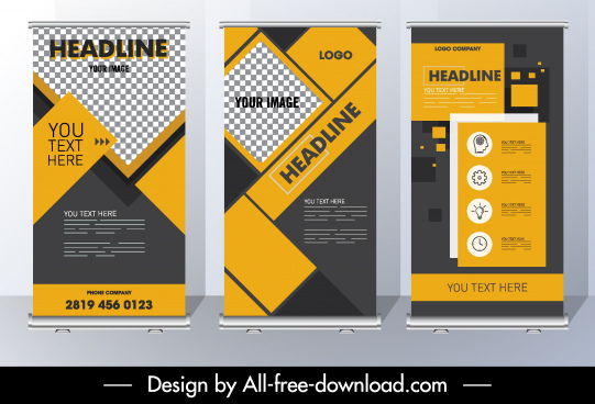 corporate brochure template modern flat checkered geometric layout
