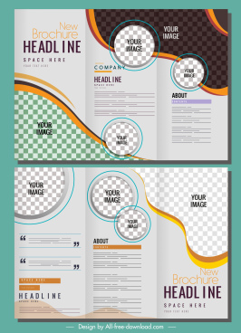 corporate brochure template modern trifold shape checkered decor
