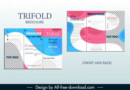 corporate brochure template trifold shape modern deformed decor