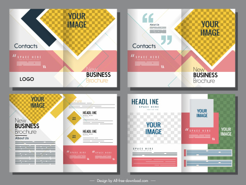corporate brochure templates bright colorful design checkered decor
