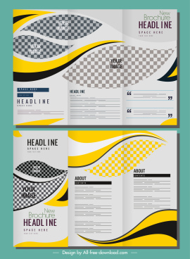 corporate brochure templates bright modern checkered curves decor