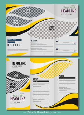 corporate brochure templates bright modern checkered curves decor