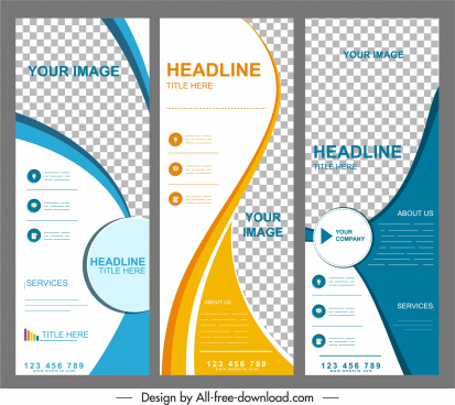 corporate brochure templates checkered curves decor vertical design