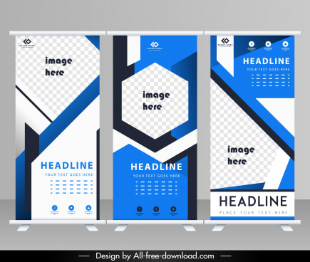 corporate brochure templates modern blue white geometric decor
