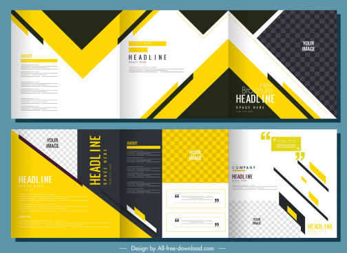 corporate brochure templates modern colored abstract trifold design