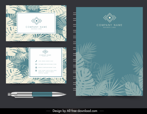corporate card brochure template classical leaves decor