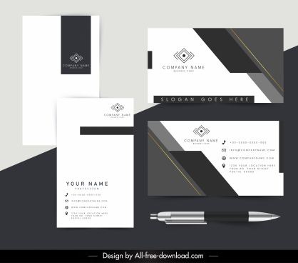 corporate cards template elegant dark bright modern design