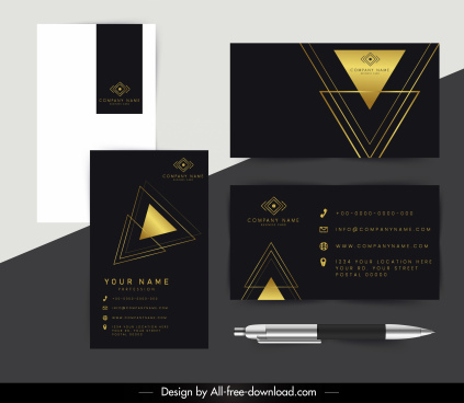 corporate cards template luxury golden black triangles decor