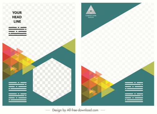 corporate flyer brochure template modern colorful checkered decor