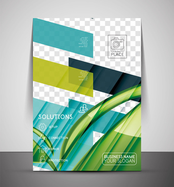 corporate flyer cover set vector illustration