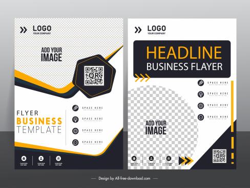 corporate flyer cover templates modern elegant checkered decor