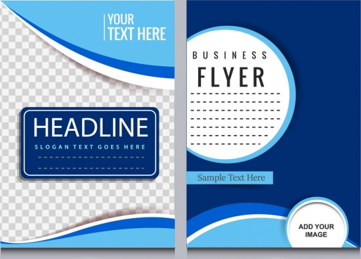 corporate flyer template blue swirled checkered circles decor