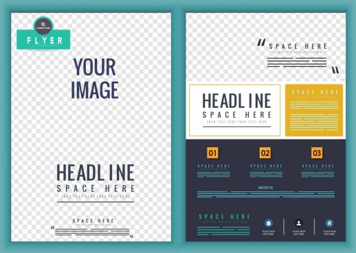 corporate flyer template checkered decoration modern design
