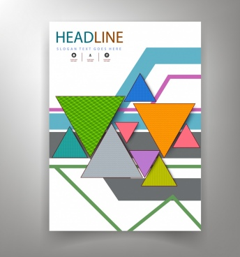 corporate flyer template colorful triangles decoration