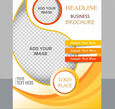 corporate flyer template curves checkered decor modern design