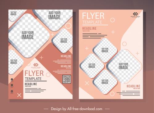 corporate flyer template elegant checkered geometric decor