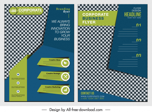 corporate flyer template elegant colorful modern checkered decor