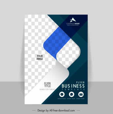 corporate flyer template elegant contrast checkered 3d effect
