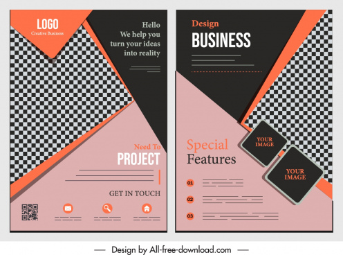 corporate flyer template elegant dark checkered geometric decor